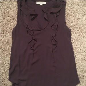 Loft Plum blouse, ruffle detail on the front. Sz S